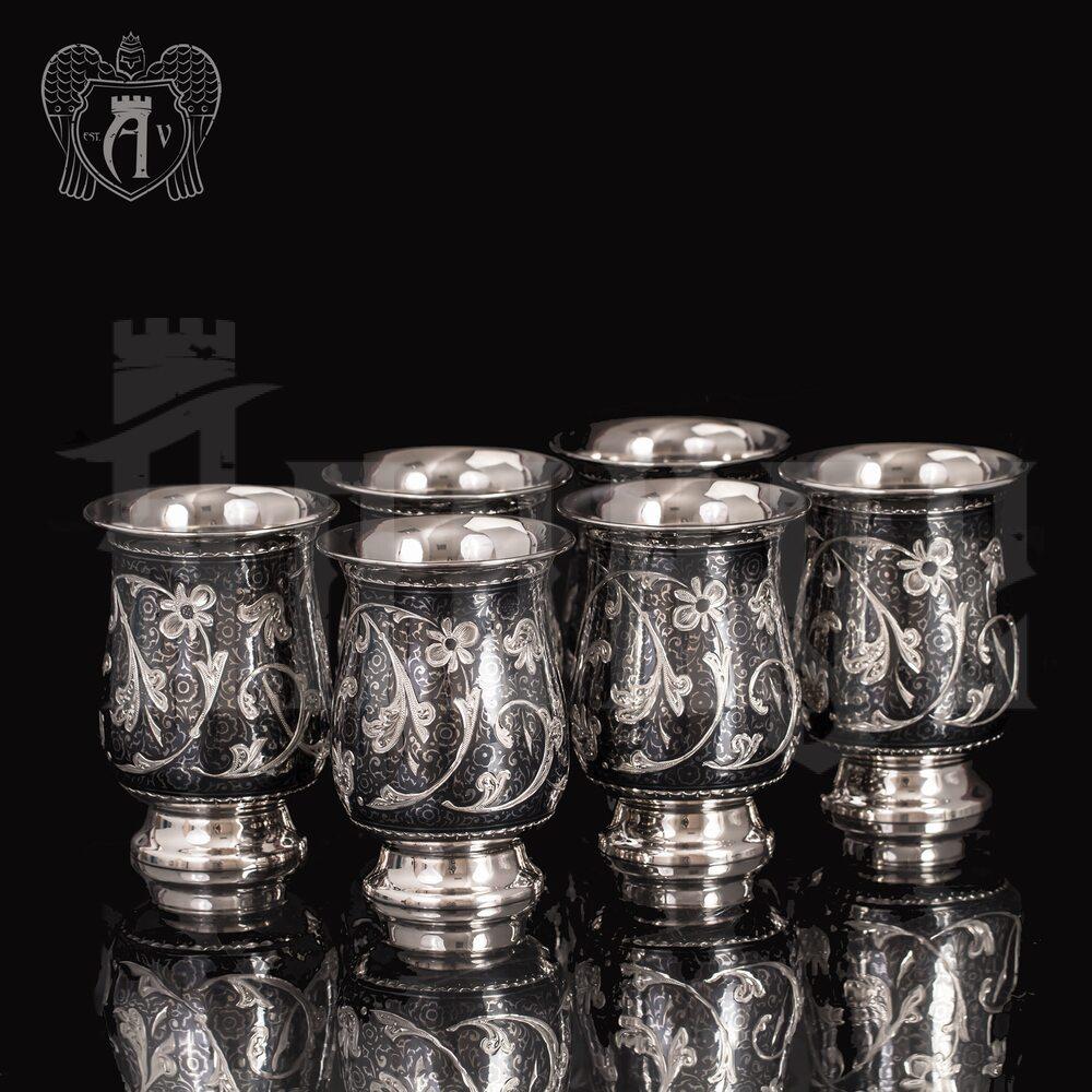 Набор серебряных стаканов «Георгин» Апанде, 710004499