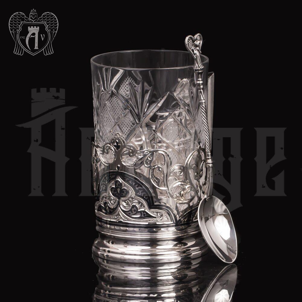 Подстаканник из серебра  «Гармония» с ложкой Апанде, 88000118