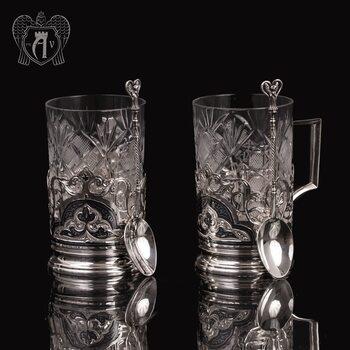 Набор из двух подстаканников из  серебра «Гармония» с ложкой