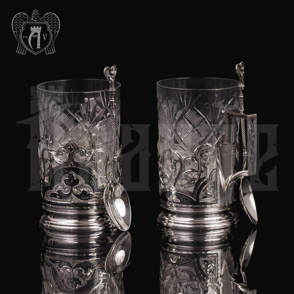 Набор из двух подстаканников из  серебра «Гармония» с ложкой Апанде, 8800309