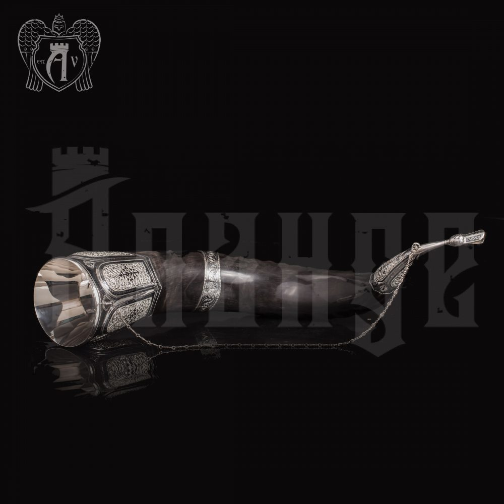 Большой рог для вина серебряный «Кунак» Апанде, 170003