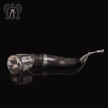 Большой рог для вина серебряный «Кунак»