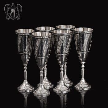 Набор бокалов из серебра «Антик» 6 шт