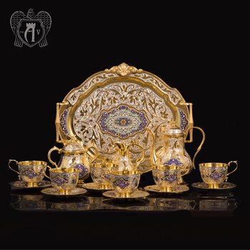Серебряный сервиз чайный  с горячей эмалью  «Ричмонд»