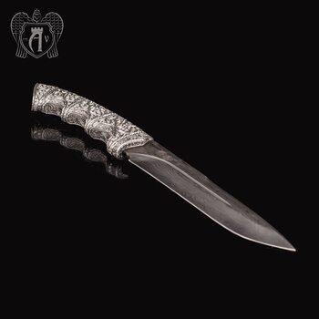 Авторский нож из серебра  «Волк»