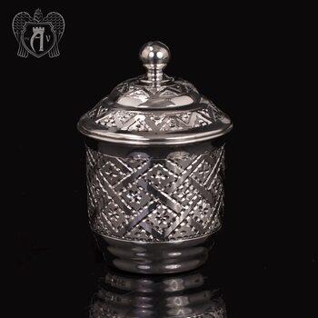 Маленький  стакан для меда  «Витязь» из чистого серебра 999 пробы