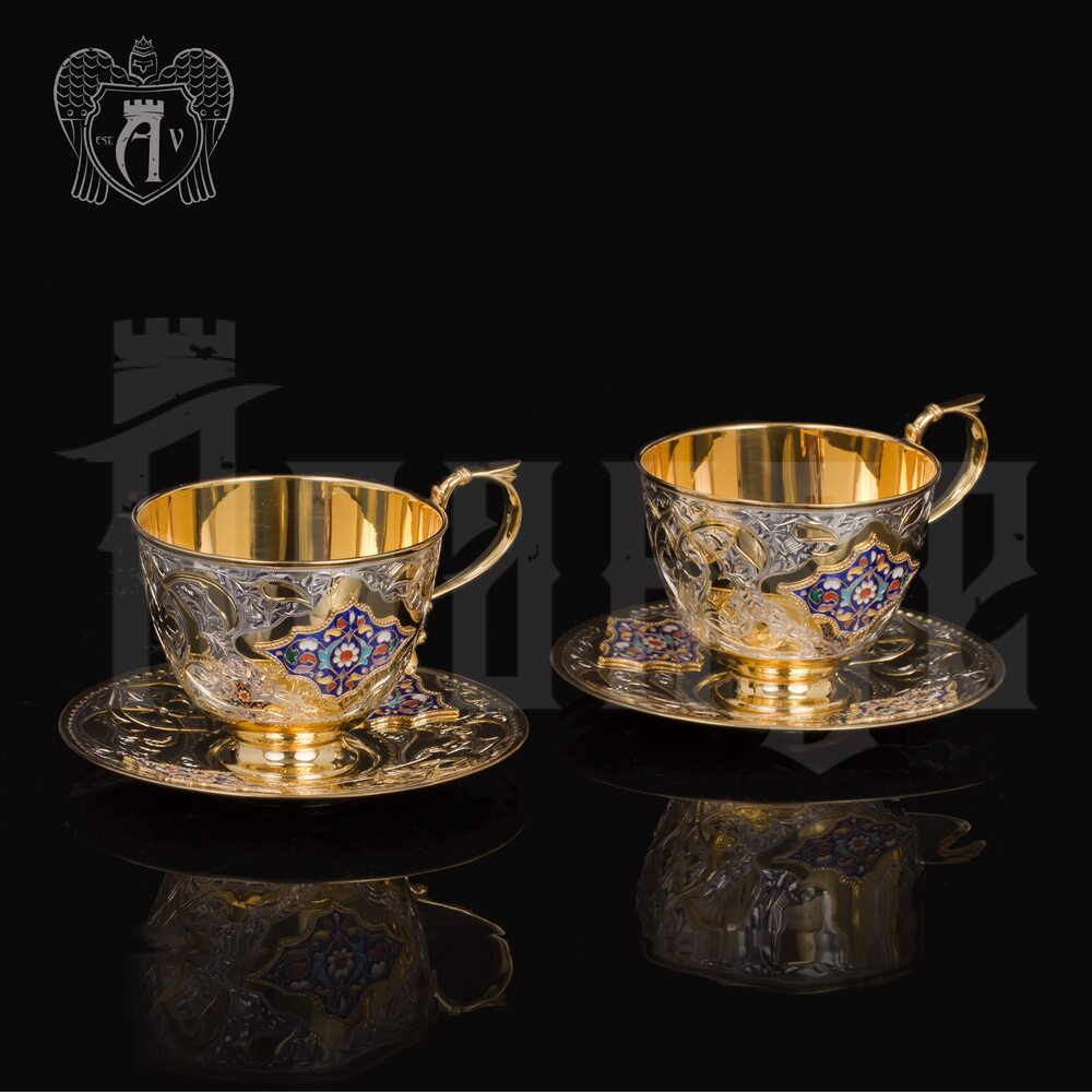 Чайные пары набор «Ричмонд» с эмалью 6  шт Апанде, 320091136