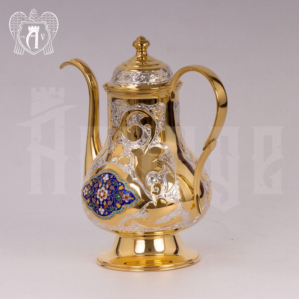 Чайник серебряный  «Ричмонд» с золочением и эмалью Апанде, 2500012
