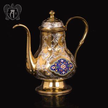 Чайник серебряный  «Ричмонд» с золочением и эмалью