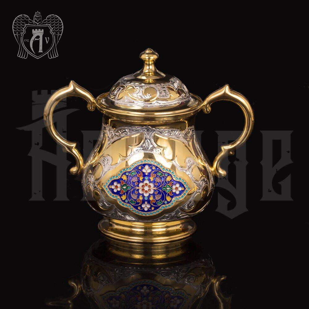 Серебряная сахарница «Ричмонд» с золочением и эмалью Апанде, 350003146
