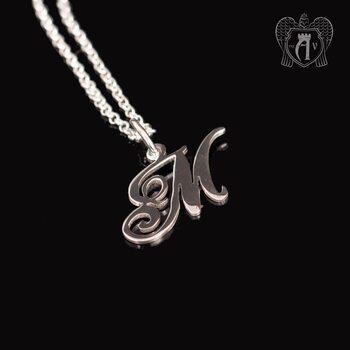 Подвеска с цепью  из серебра «Буква М»