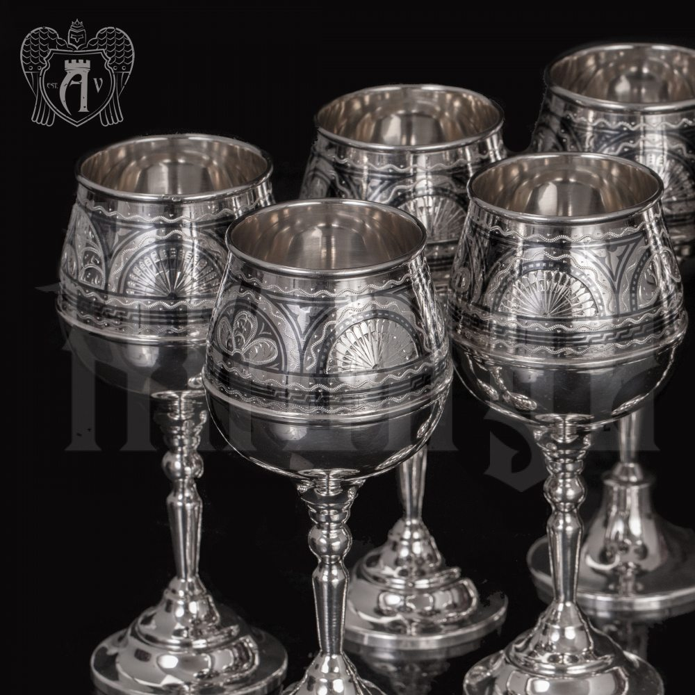Набор бокалов из серебра «Верона 2» 6 шт Апанде, 3800403-23