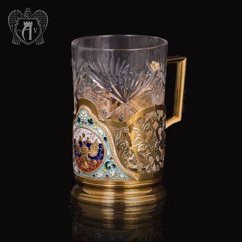 Подстаканник из серебра с эмалью «Герб» с золочением