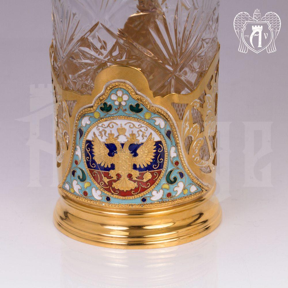 Набор из двух подстаканников из серебра с эмалью «Герб» с золочением Апанде, 88000121