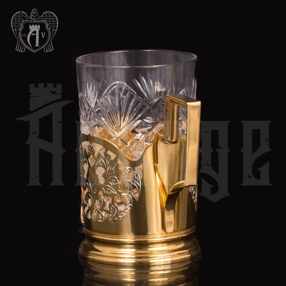 Набор из двух подстаканников с гербом из серебра с эмалью «Держава» с золочением Апанде, 88000122