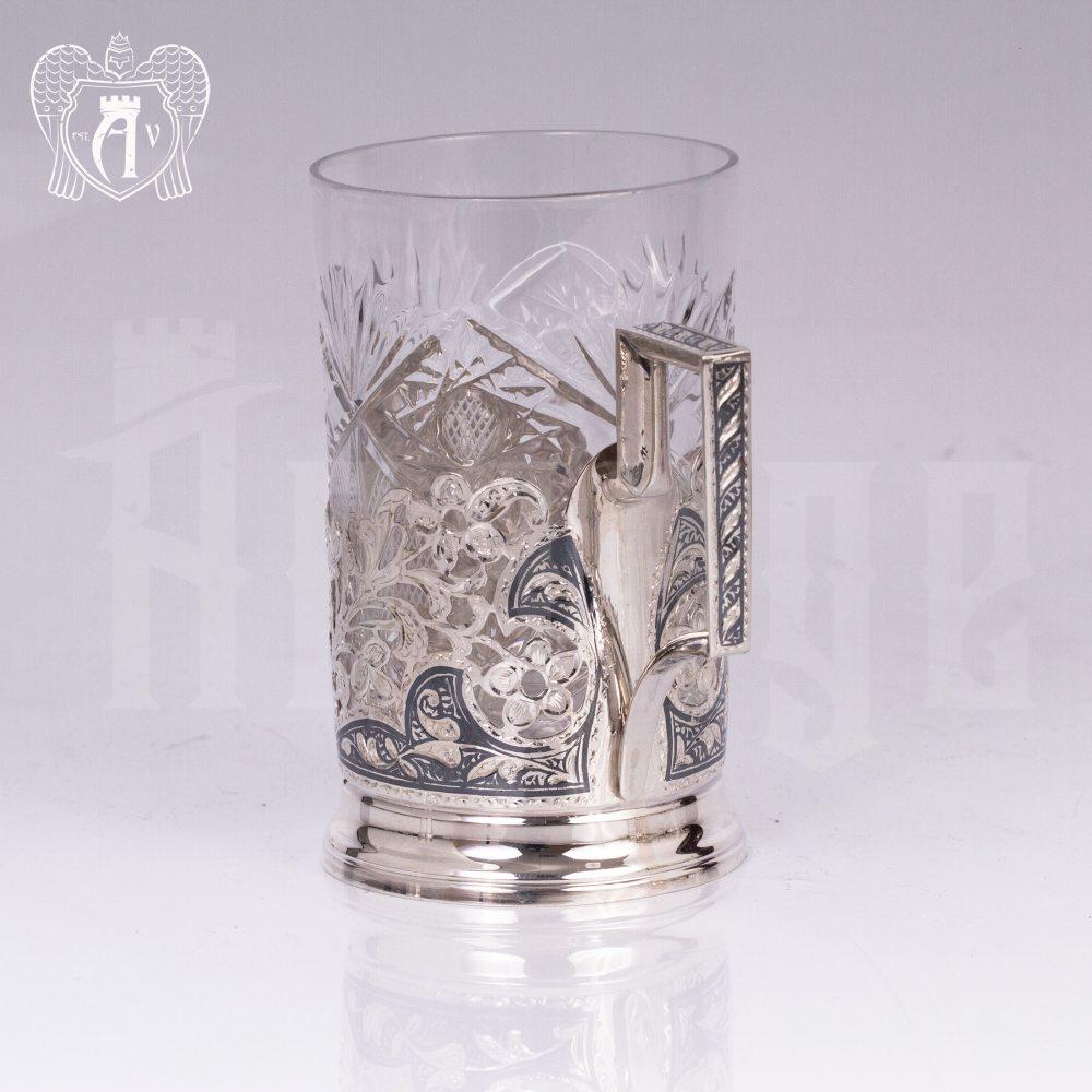 Набор из двух подстаканников с гербом из серебра с эмалью «Двуглавый орел»  Апанде, 88000123