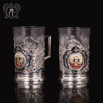 Набор из двух подстаканников с гербом из серебра с эмалью «Двуглавый орел»