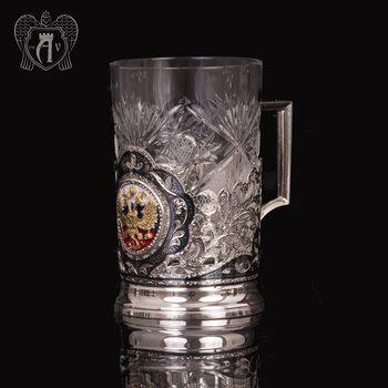 Подстаканник с гербом из серебра  «Двуглавый орел»