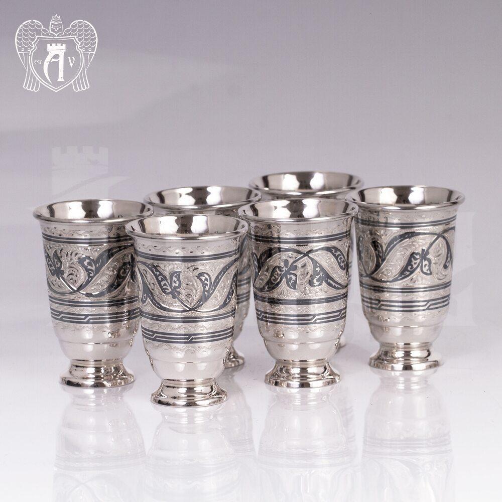 Набор серебряных стопок «Лоза»  6 шт Апанде, 111003142