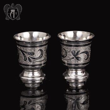 Набор серебряных стопок  «Веточка»