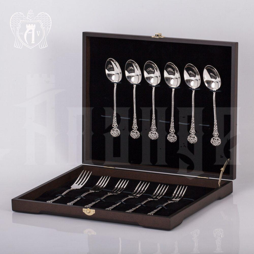 Столовый набор из серебра на 6 персон «Винтаж» 12 предметов Апанде, 22000212-01