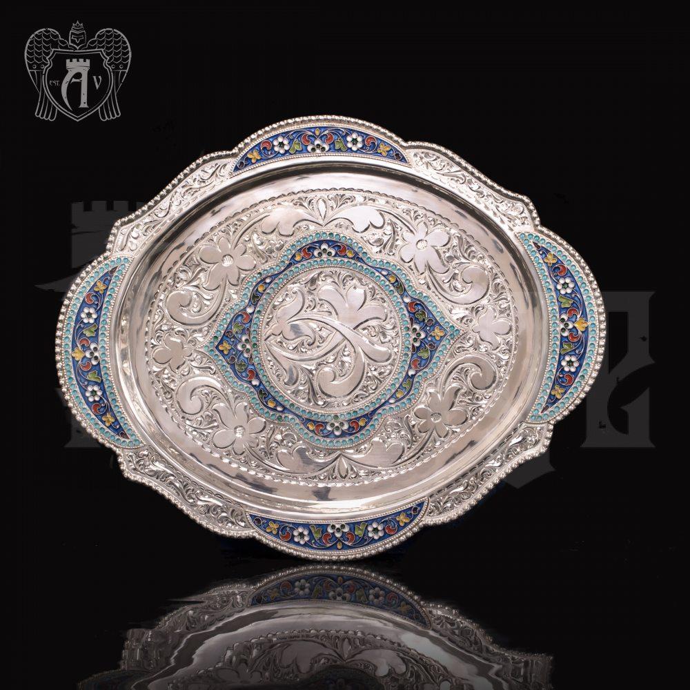 """Поднос из серебра """"Бенедикт"""" с  эмалью Апанде, 7700019"""