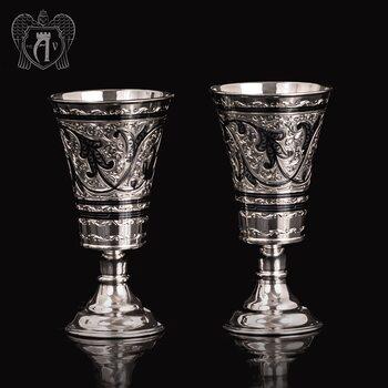 Набор  стаканов из серебра  «Краса Востока»