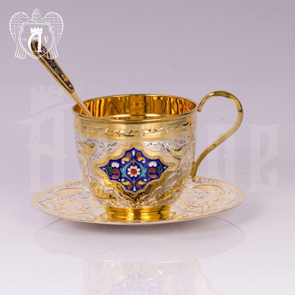 """Чайная пара с золочением и эмалью """"Ричмонд"""" Апанде, 32009137"""