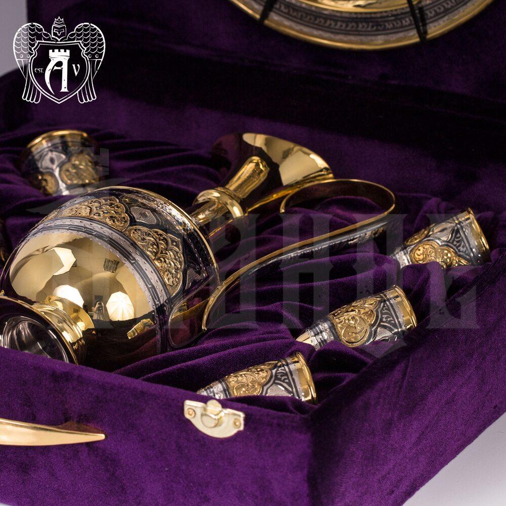 Коньячный сервиз из серебра  «Адалия» с золочением Апанде, 111005361
