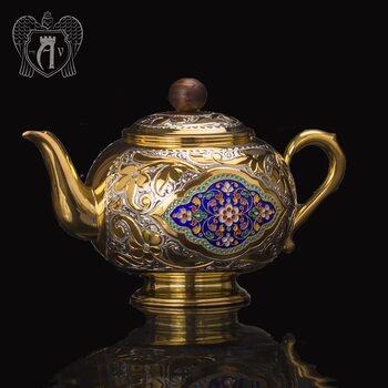 Заварочный чайник серебряный «Королевский» с золочением