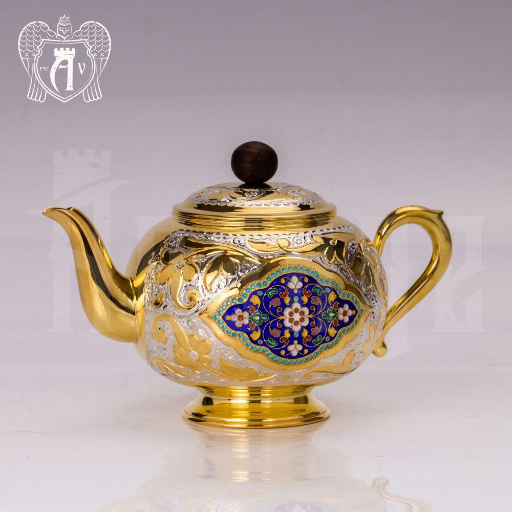 Заварочный чайник серебряный «Королевский» с золочением Апанде, 250006