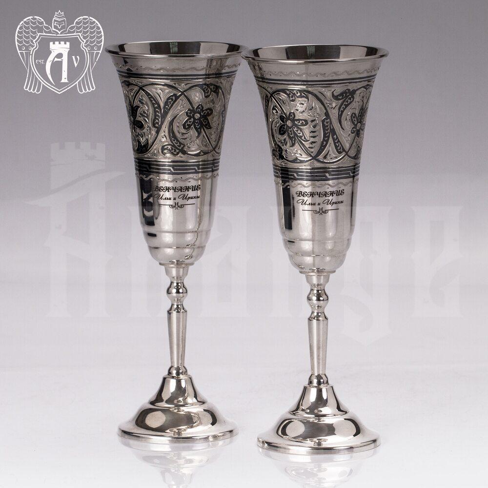 """Серебряные бокалы на венчание с гравировкой для жениха и невесты """"Свадебные"""" 2 шт Апанде, 3800420"""