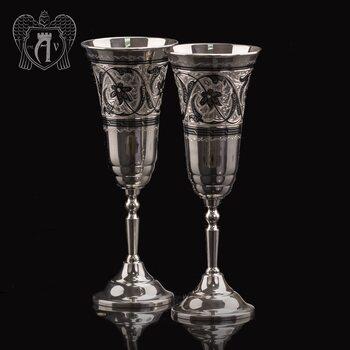 """Серебряные бокалы на венчание с гравировкой для жениха и невесты """"Свадебные"""" 2 шт"""