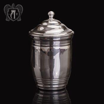Большой стакан из чистого серебра »Родник» 999 пробы с крышкой