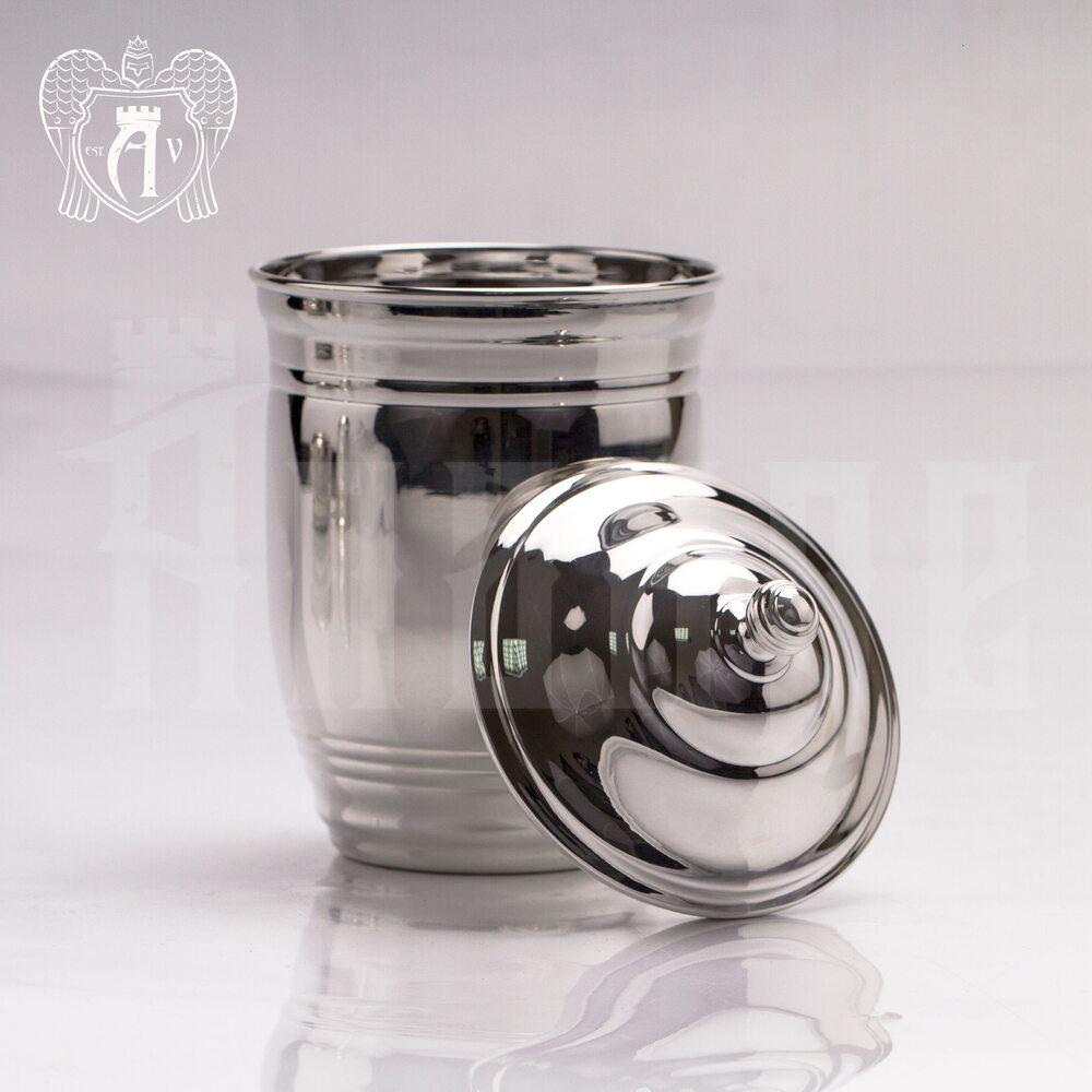 Большой стакан из чистого серебра »Родник» 999 пробы с крышкой Апанде, 71000510