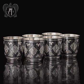 Набор серебряных стаканов «Люксор» 925 пробы
