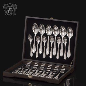Столовый набор из серебра на 6 персон «Элегант» 24 предмета