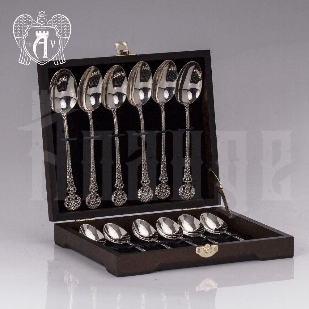 Набор  ложек из серебра на 6 персон «Винтаж» 12 предметов Апанде, 22000228