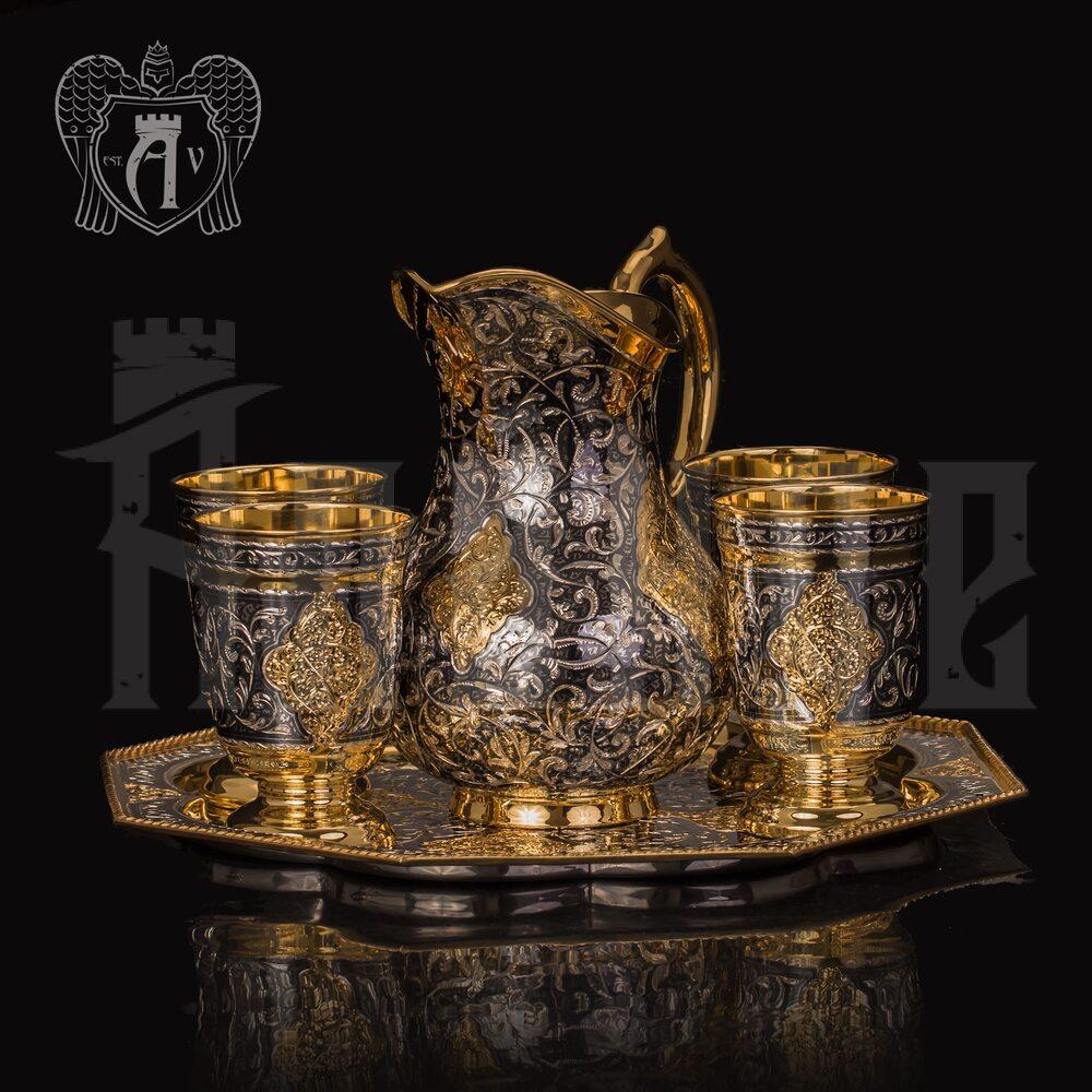 "Сервиз серебряный ""Тадж Махал""с золочением Апанде, 11100690"