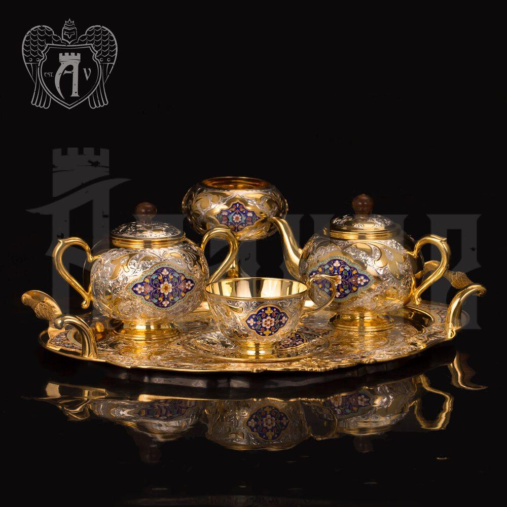 Серебряный сервиз чайный  с горячей эмалью  «Вермонт»  Апанде, 111049254