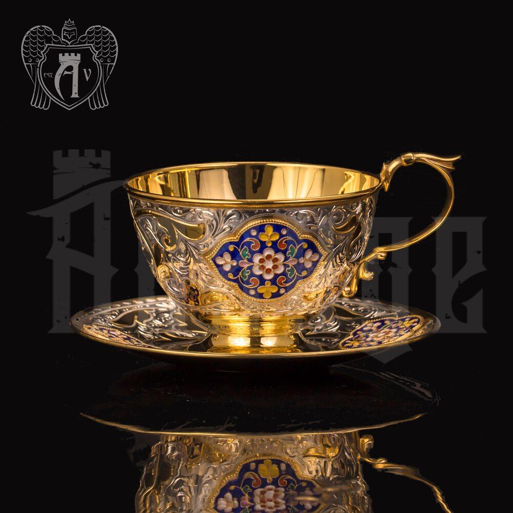 """Чайная пара с золочением и эмалью """"Вермонт"""" Апанде, 32009138"""