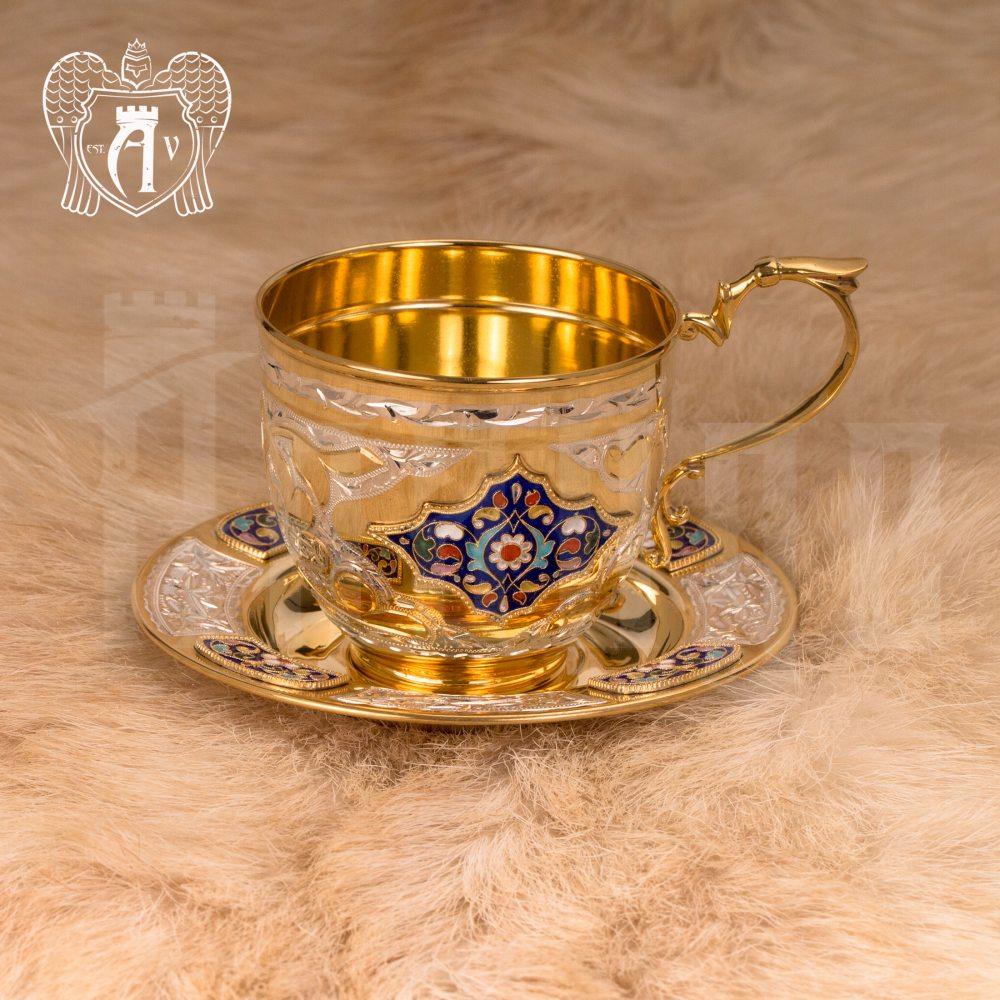 """Чайная пара с золочением и эмалью """"Глория"""" Апанде, 32009134"""