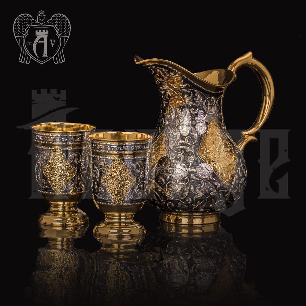 "Кувшин и два стакана из серебра ""Тадж Махал""с золочением Апанде, 111003179"