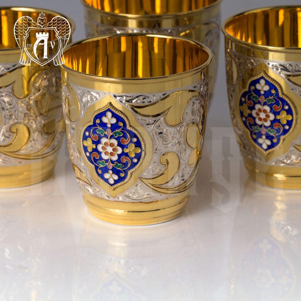 Набор серебряных стаканов «Теодор» с золочением и эмалью 4 шт Апанде, 71000460