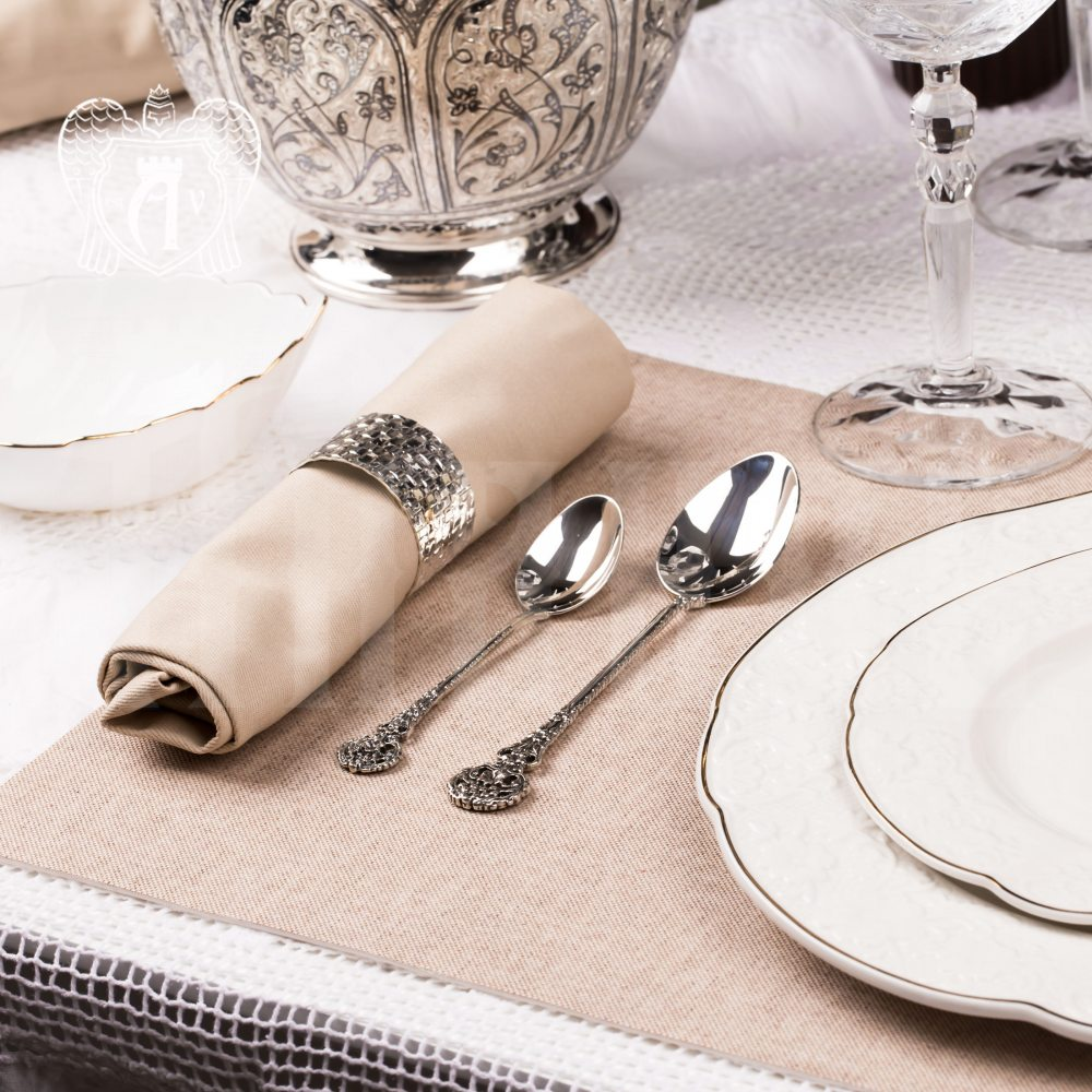 Набор десертных ложек из серебра на 6 персон «Винтаж» 6 предметов Апанде, 22000229