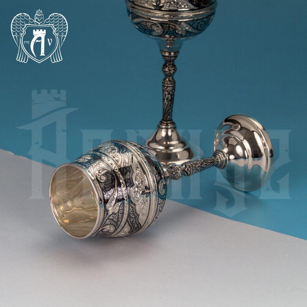 Серебряные фужеры «Король Артур» набор 6 шт Апанде, 3800403-30