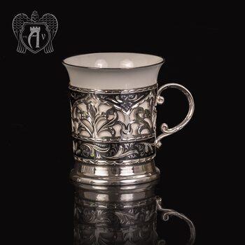 Подстаканник  из серебра  «Бернадетт» с фарфоровым стаканом