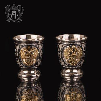 Набор серебряных стопок  «Герб России» 2 шт