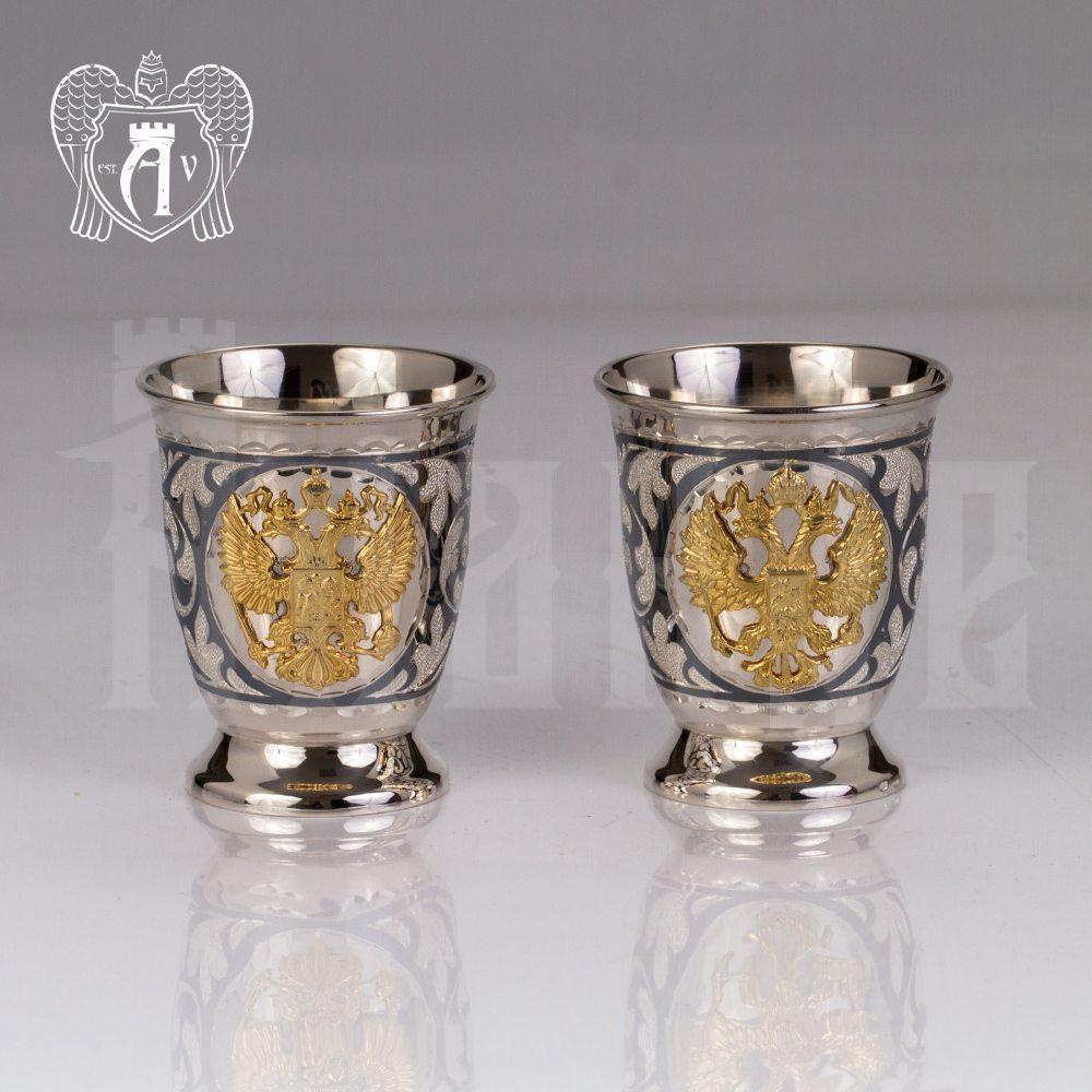 Набор серебряных стопок  «Герб России» 2 шт Апанде, 8900099