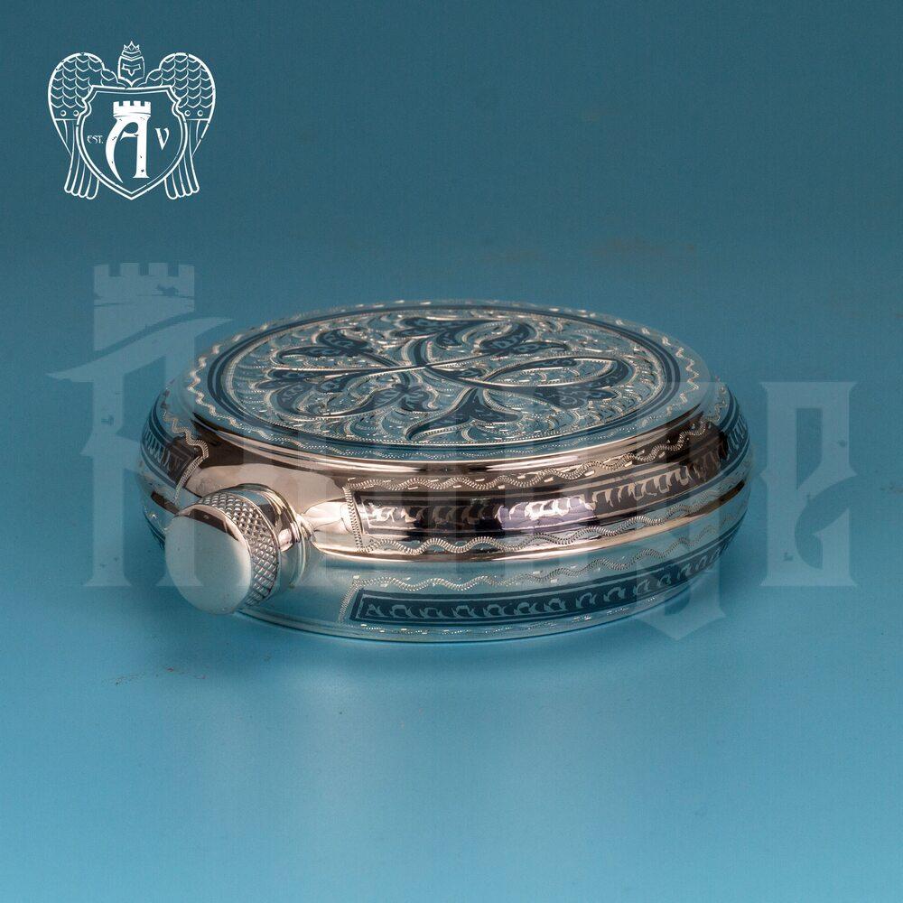 Серебряная фляжка круглая  «Норд»  Апанде, 720001103